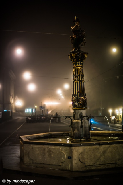 Chindlifresser Fountain in Foggy Night