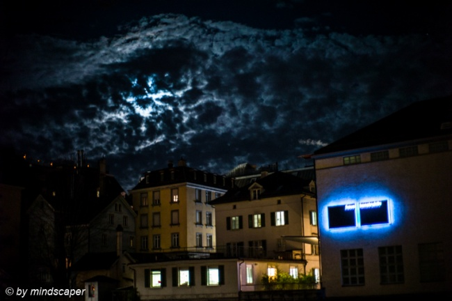 haus konstruktiv with cloudy fullmoon