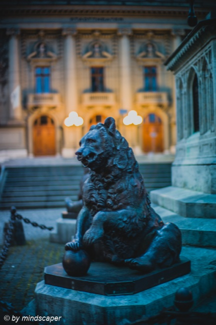 Bear Statue of Erlach Munument and Theatre Entrance - Berne in Twilight