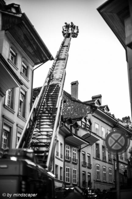 Fire Brigade in Junkerngasse - Berne in Black & White