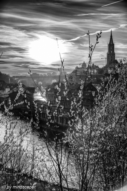 Springtime Sunset at Aare Wasserwerk & Minster Skyline - Berne i