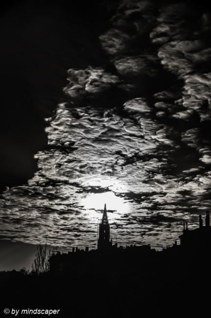 Clouded Sunset at Berne Minster in Black & White
