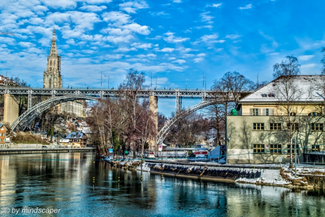 Kirchenfeld Bridge and Minster on a Blue Sky Winter Day - Berne