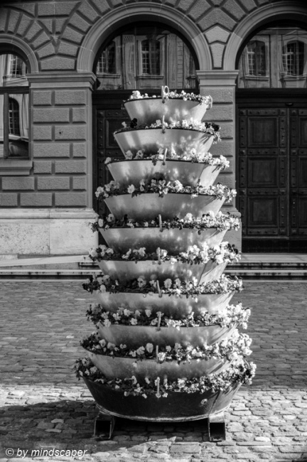 Flower Tower at Bundeshaus - Berne in Black & White