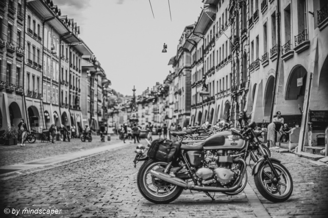 Motorbike in Kramgasse - Berne in Black & White