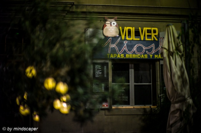 Closed Volver Kiosk at Night