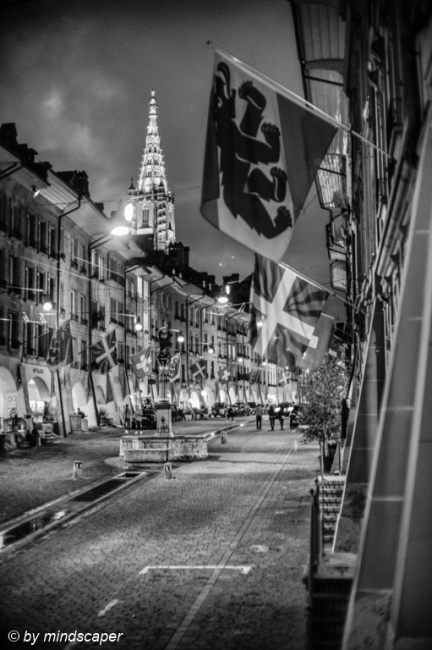 Flagged Gerechtigkeitsgasse & Minster - Berne by Night in Black & White