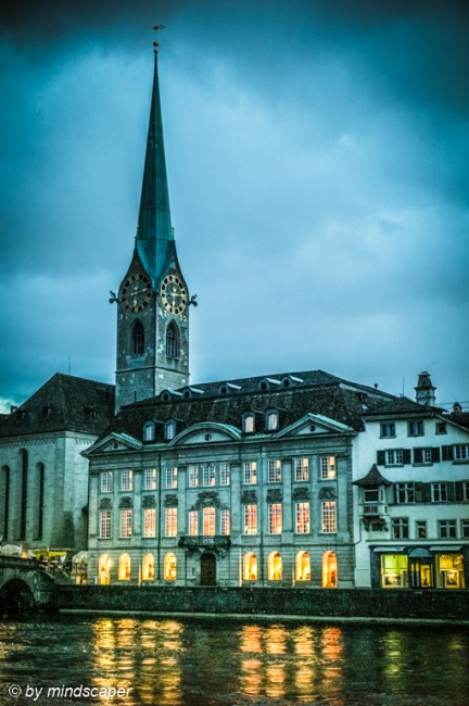 Eveningrise at Fraumünster - Zurich by NIght