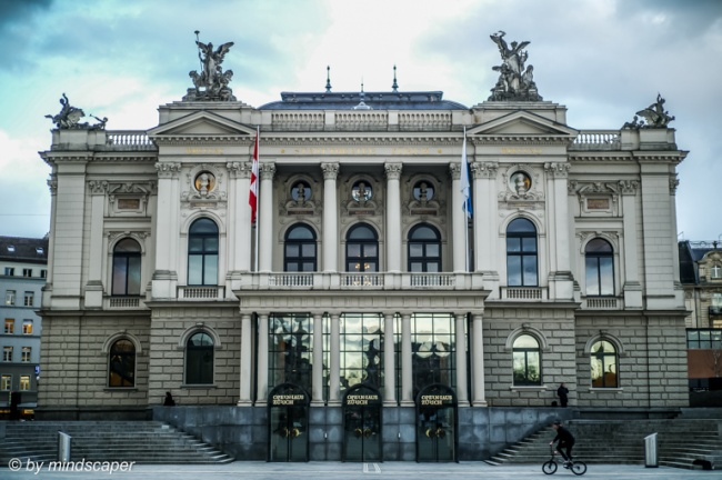 Opernhaus Zürich with Cyclist