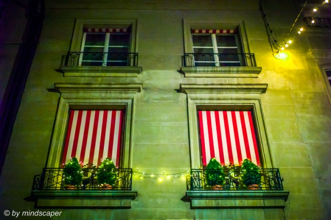 Red-White Striped Blinds with Xmas Lights