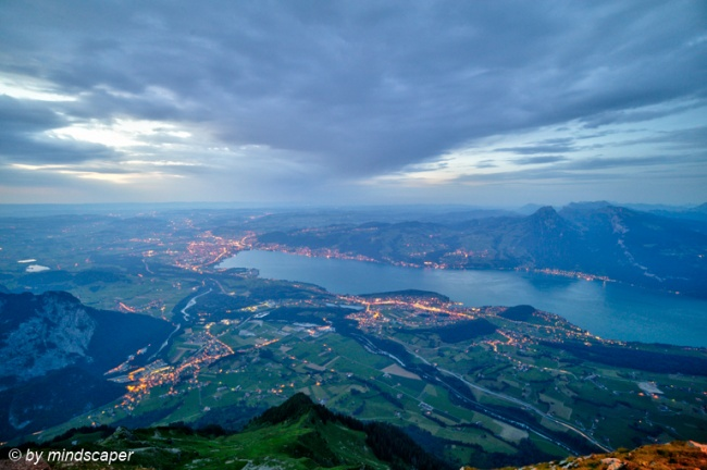 Lake of Thun and Thun City in the Evening (HDR) seen from Niesen