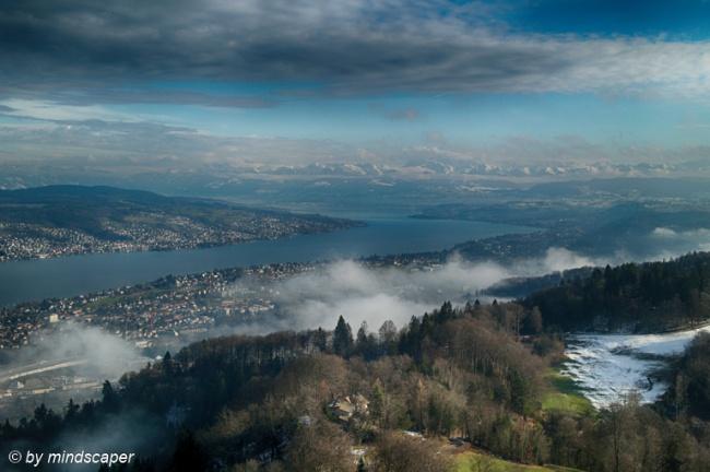 Lake Zurich Panorama With Alpine Skyline