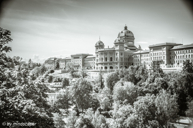 Bundeshaus in the Summerly Afternoon Sun - Berne in Black & Whit