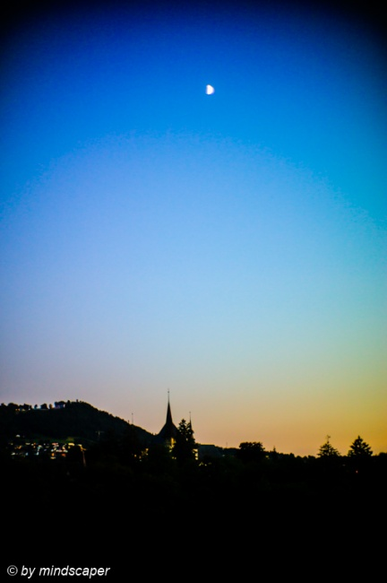 Half Moon above Historical Museum Berne - Summer Night