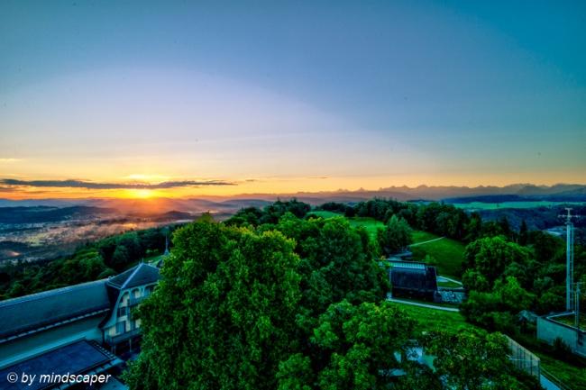 Sunrise seen From Gurten Observatory Tower