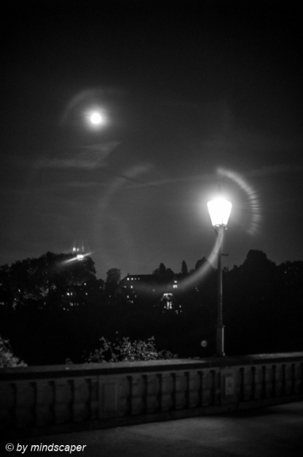 Lantern with Fullmoon in Black & White