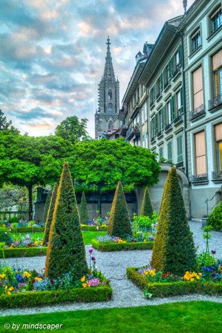 Erlacherhif Garden with Berne Minster - HDR