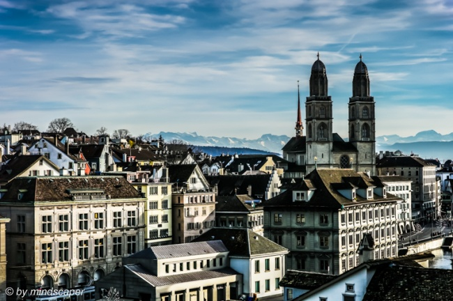 CityScape Panorama of Zürich with Grossmünster