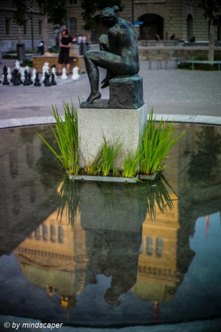 Bundeshaus Reflection at Bundesterrace Fountain
