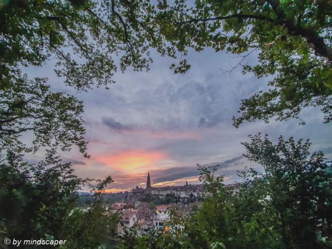After Sunset Sky Over Berne Skyline