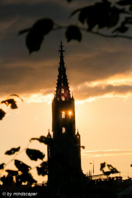 Sunset Sun Behind Berne Minster