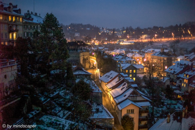 Bubenbergrain And Snowed Roofs in the Evening - Berne Cityscape