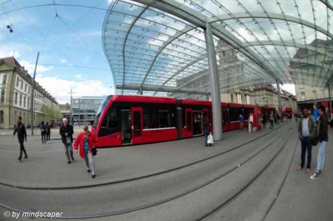 Berne Central Station Tram with Baldachin Roof - Fisheye
