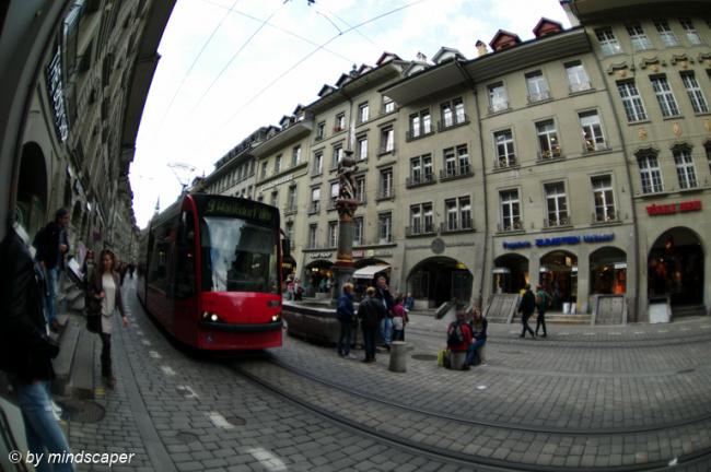 Tram in Marktgasse - Fisheye