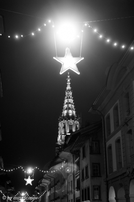 Berne Minster Tower with Xmas Star in Black & White