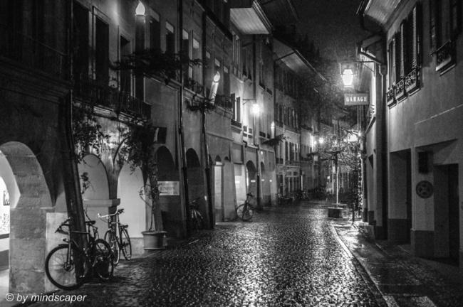Xmas Lights in Brunngasse Berne - Black & White