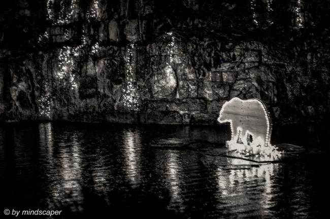 Xmas Lights Bear in the Kleine Schanze Pond