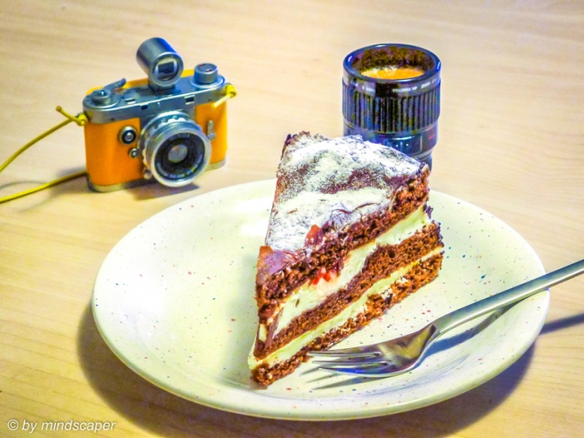 Photographers Coffee Break with Black Forest Cake