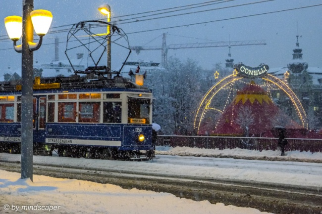 Tramway in the Snow with Conelli Circus - Zurich