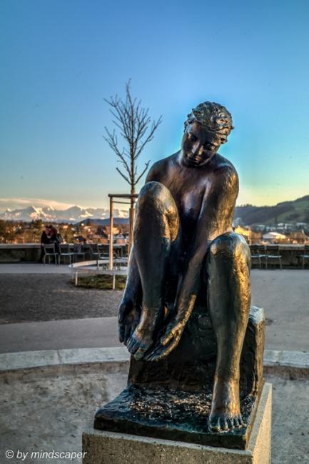 Bundesterrasse Fountain Sculpture with Alpine Panorama