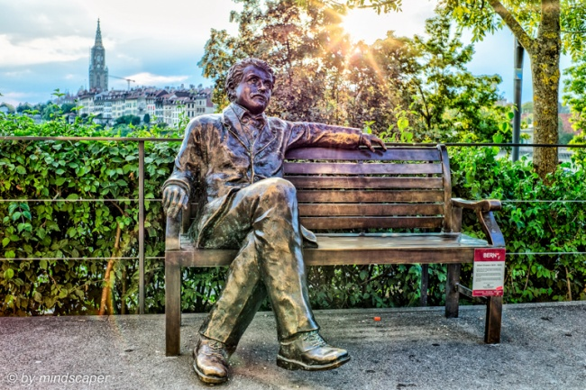 Sunset at Albert Einstein Statue at Altes Tramdepot - HDR