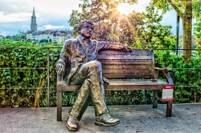 Sunset at Albert Einstein Statue at Altes Tramdepot - HDR